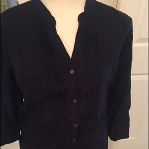 Midnight blue button down crinkle top
